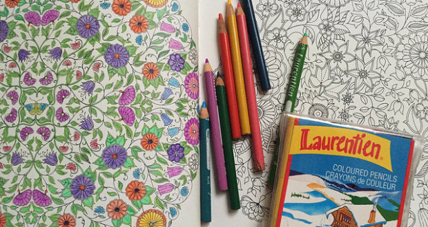 Coloring Book with Pencil Crayons 620x330 - How to relieve stress through adult colouring books