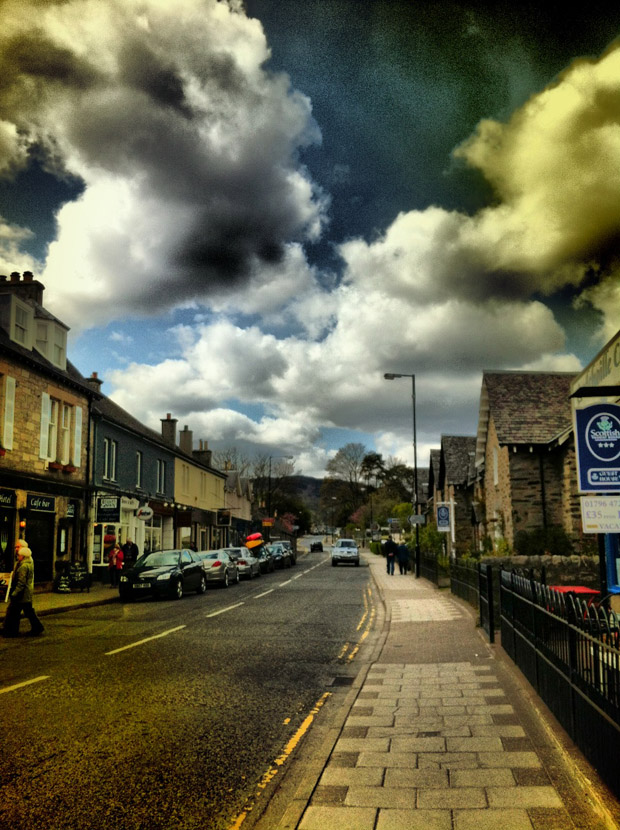Pitlochry's main street - iPhoto snapshot, post-processed