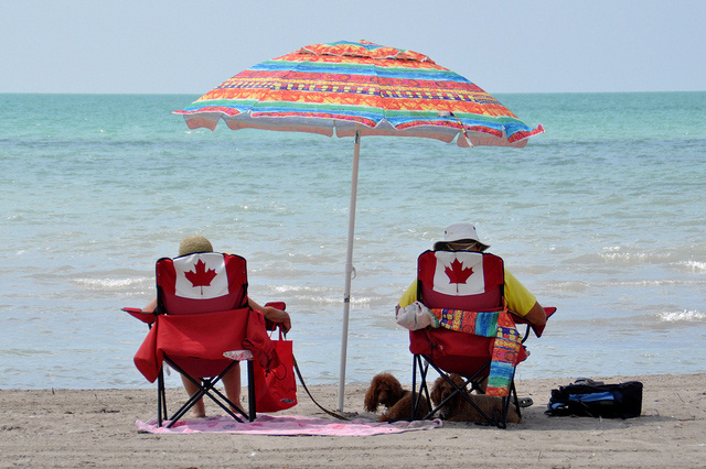 canadians at Port Burwell Beach - Relaxing at Port Burwell Beach on Lake Erie